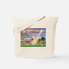 Cloud Angel & Westie Tote Bag