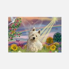 Cloud Angel & Westie Rectangle Magnet
