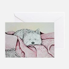 Snoozing Westie Greeting Card