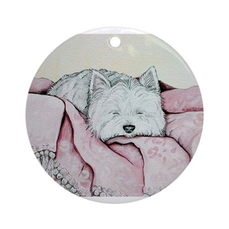 Snoozing Westie Ornament (Round)