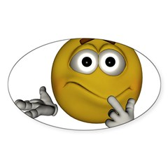 Confused Smiley Oval Sticker (10 pk)