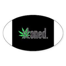 Vintage Stoned (Green Pot Leaf) Oval Decal