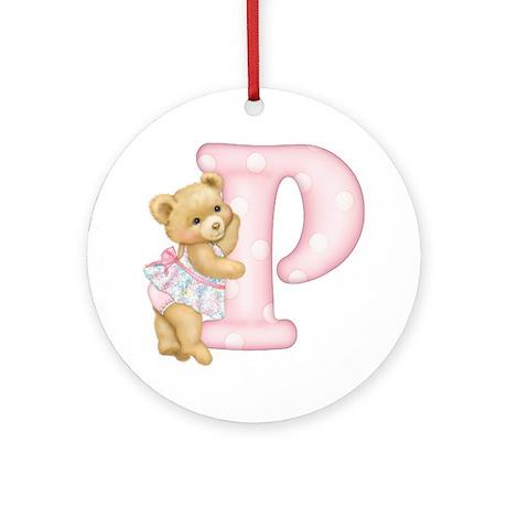 Teddy Alphabet P Pink Ornament (Round)
