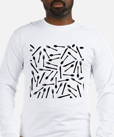 Knife Fork And Spoon Backgroun Long Sleeve T-Shirt