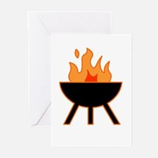 Flaming BBQ Barbecue Summer Greeting Cards (Packag