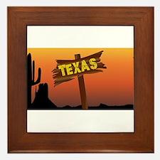Texas Border Sign Framed Tile