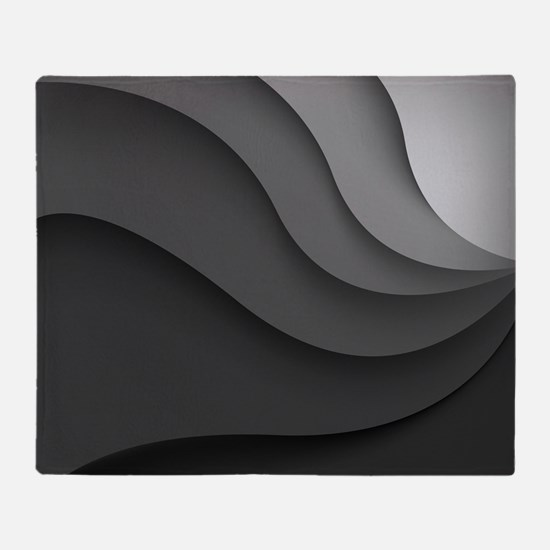 Black Abstract Throw Blanket