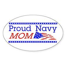 Proud Navy Mom Oval Sticker (50 pk)