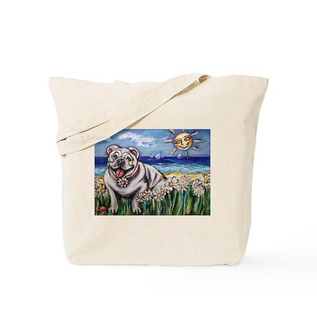 Happy Daisy Bulldog under the Tote Bag