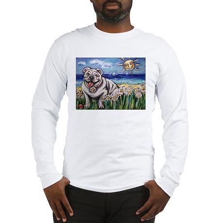 Happy Daisy Bulldog under the Long Sleeve T-Shirt