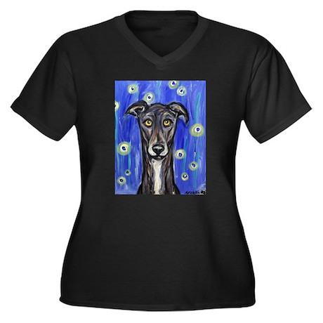 Portrait of a greyhound Women's Plus Size V-Neck D