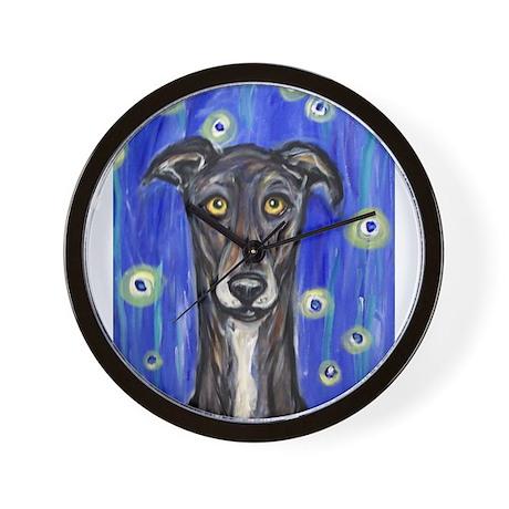 Portrait of a greyhound Wall Clock