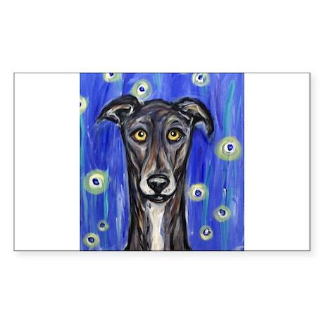 Portrait of a greyhound Rectangle Sticker