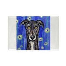 Portrait of a greyhound Rectangle Magnet