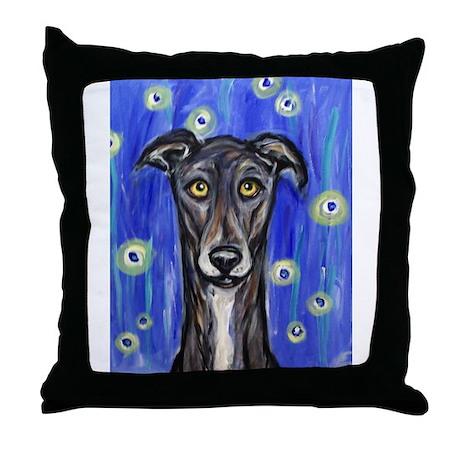 Portrait of a greyhound Throw Pillow