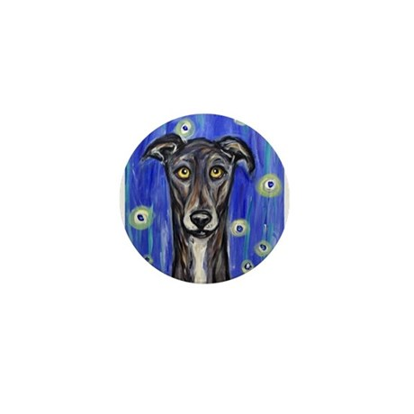 Portrait of a greyhound Mini Button (100 pack)