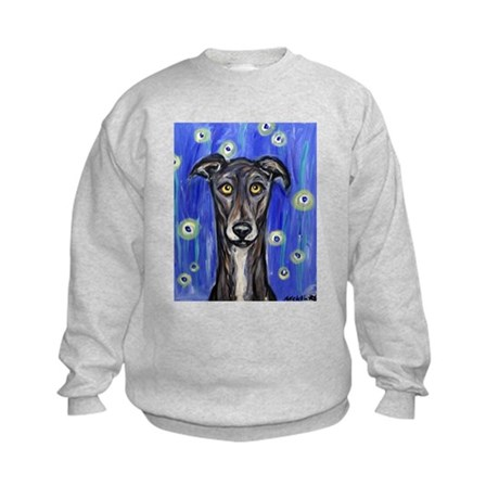 Portrait of a greyhound Kids Sweatshirt