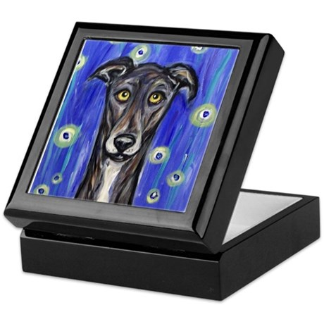 Portrait of a greyhound Keepsake Box