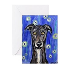 Portrait of a greyhound Greeting Cards (Pk of 10)