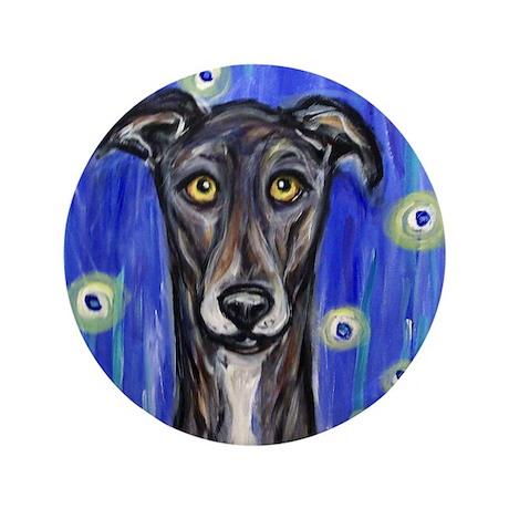 """Portrait of a greyhound 3.5"""" Button"""