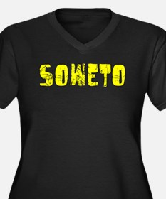 Soweto Faded (Gold) Women's Plus Size V-Neck Dark