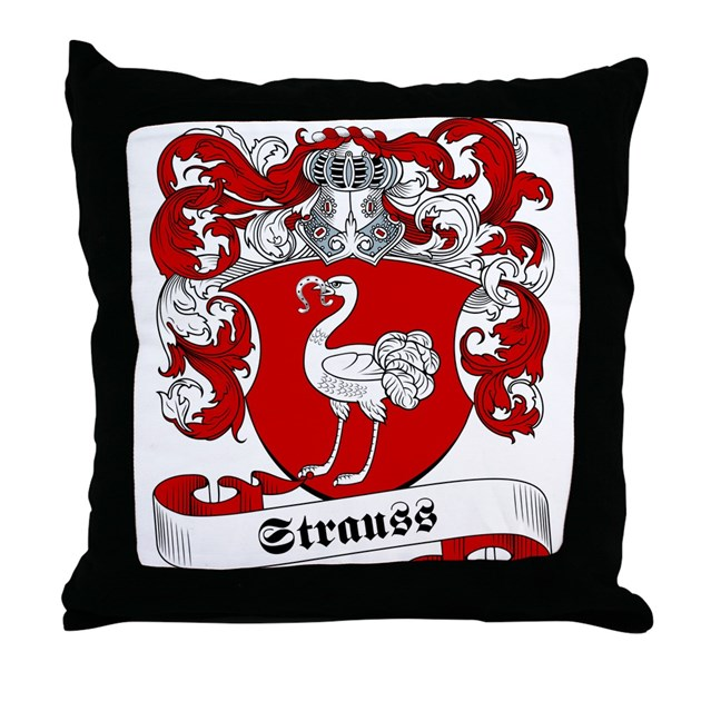 Strauss Family Crest Throw Pillow By Familycoats