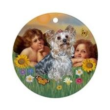 Angels with Yorkie Ornament (Round)