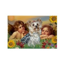 Angels with Yorkie Rectangle Magnet