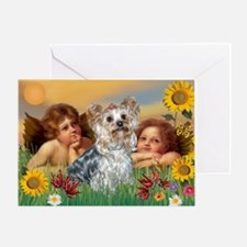 Angels with Yorkie Greeting Card