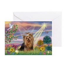 Cloud Angel & Yorkie Greeting Cards (Pk of 10)
