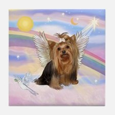 Yorkie Angel in Clouds Tile Coaster