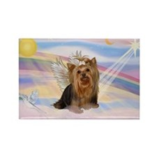Yorkie Angel in Clouds Rectangle Magnet