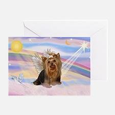Yorkie Angel in Clouds Greeting Card