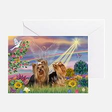 Cloud Angel & Yorkie Pair Greeting Card