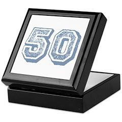 Blue 50 Yars Old Birthday Keepsake Box