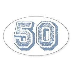 Blue 50 Yars Old Birthday Oval Sticker (50 pk)