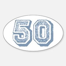 Blue 50 Yars Old Birthday Oval Decal