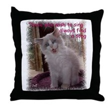 Singing Ragdoll Kitten Throw Pillow