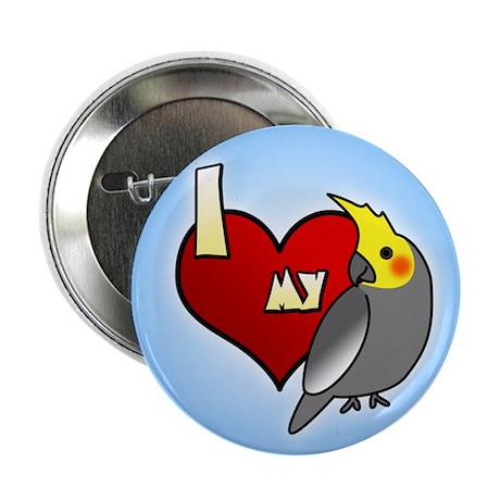 I Love My Male Gray Cockatiel Button