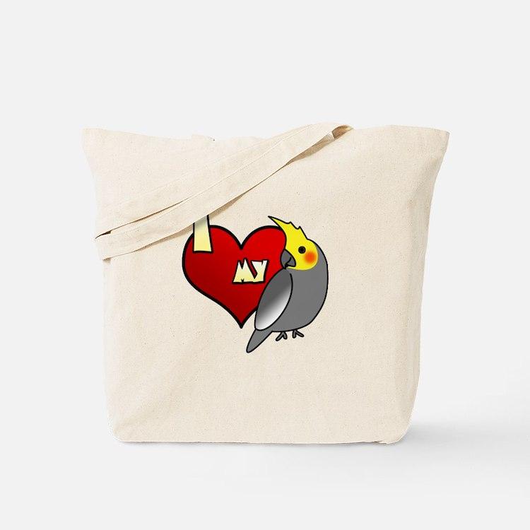 Love Male Gray Cockatiel Tote Bag