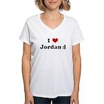 I Love Jordan :] Women's V-Neck T-Shirt