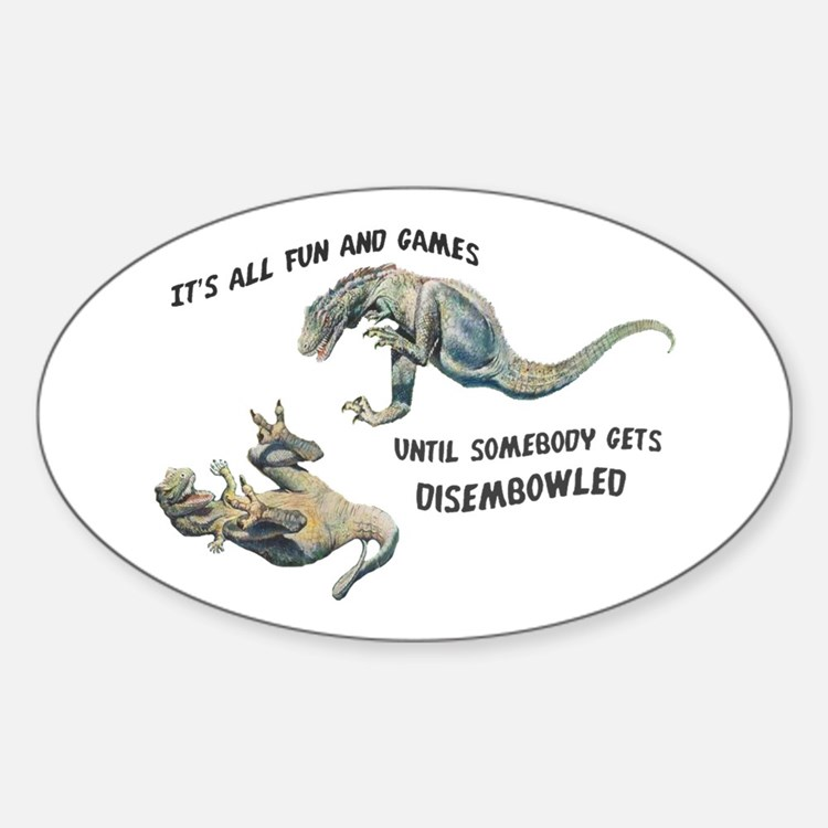 """Fun & Games"" Dryptosaurus Oval Stickers"