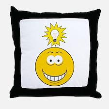 Bright Idea Smart Smiley Face Throw Pillow