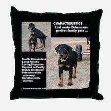 Doberman Characteristics Throw Pillow
