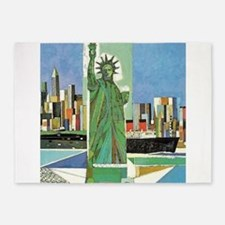 New York, NY Vintage Travel Poster 5'x7'Area Rug
