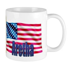 Aretha Personalized USA Flag Small Mugs