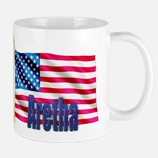 Aretha Personalized USA Flag Small Mugs