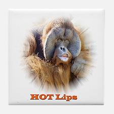 Hot Lips: Orangutan. Tile Coaster