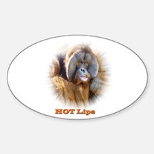 Hot Lips: Orangutan. Oval Decal
