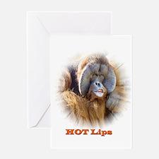 Hot Lips: Orangutan. Greeting Card